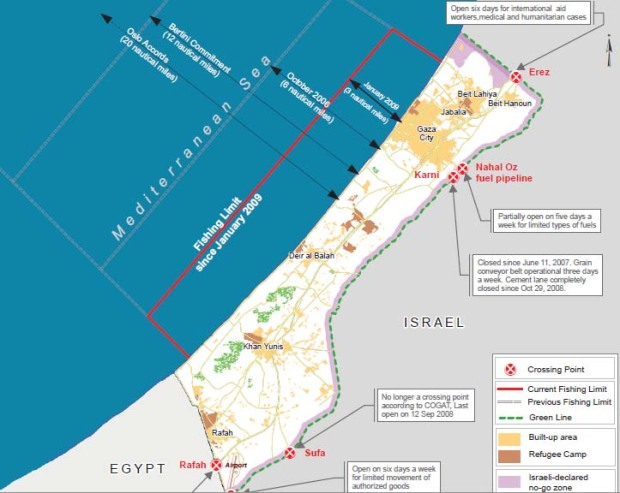 gaza crossings and sea map