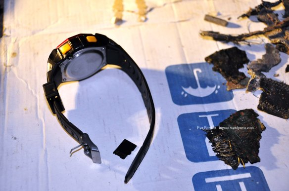 Nader's watch and the memory chip from his cell phone, which he had with him when targeted by the Israeli bomb.