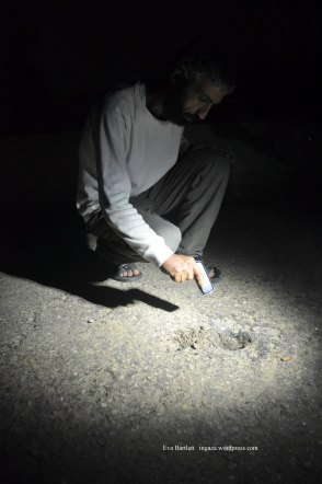 Abu Nader points to the hole in the road where the Israeli bomb which killed his son struck.