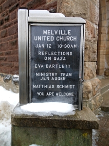 Melville United Church, in Fergus, Ontario, a platform to speak on Gaza