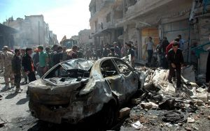 Car bomb in civilian area of Homs, SANA photo.