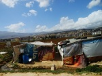 makeshift homes in Fayda Syrian refugee camp, Bekaa valley, Lebanon.