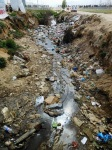 ditches contaminated with rubbish and sewage; groundwater also contaminated, Fayda refugee camp, Bekaa valley, Lebanon