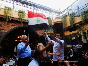 Christians in Damascus celebrating Easter, Syria, President Assad.