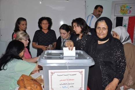 Syrians in Homs vote, Sana News
