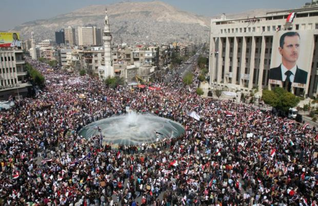 2 million Syrians marched in Damascus in support of President Bashar al-Assad on March 29th, 2011