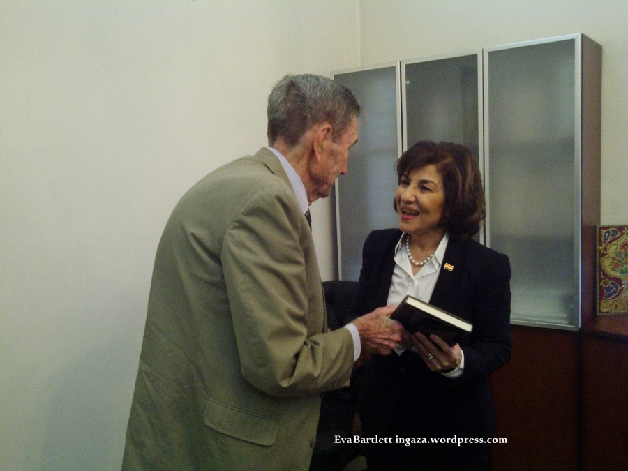 Presidential Adviser, Dr. Bouthaina Shaaban (R) with former Attorney-General Ramsey Clark