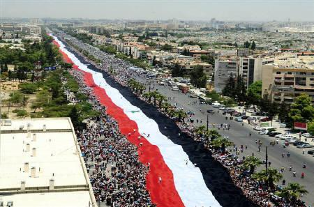 2.3 km Syrian flag, al-Mezzeh Highway, Damascus, SANA, June 15, 2011.