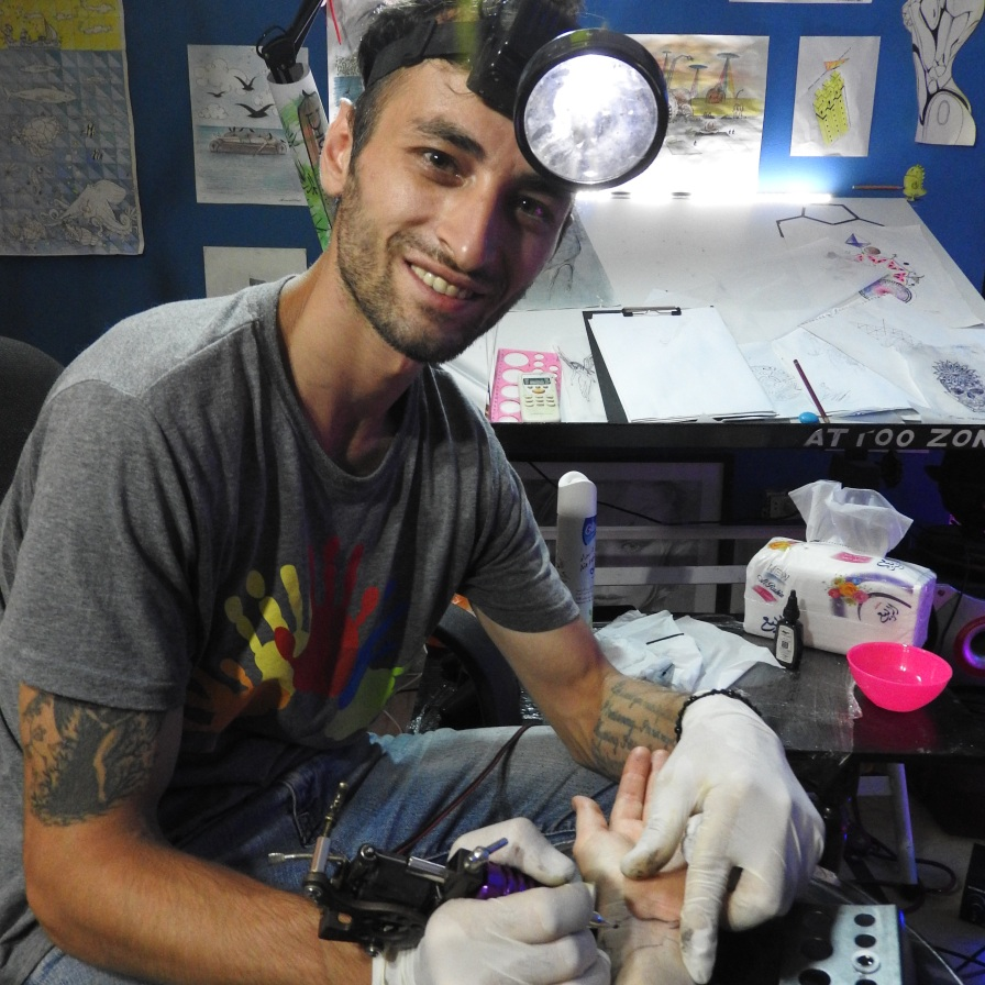 Secular Syria, Latakia: getting my Syria tattoo, summer 2016.