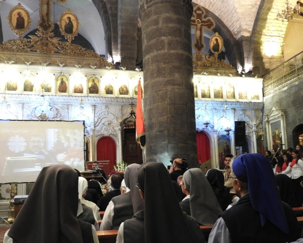 An event of prayers for peace and local youth musicians on Oct 31, 2016, at the Melkite (Greek) Catholic Patriarchate, also known as the Zeitoun Church.