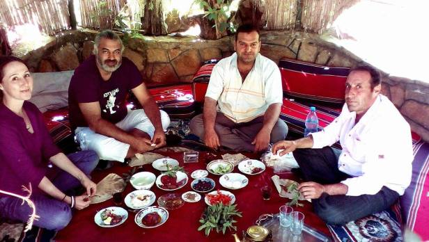 In Madaya region, after having visited the town and taken civilians' testimonies, lunch at the mayor's (mukthar). Read: https://www.mintpressnews.com/order-returns-to-western-syria-civilians-recount-horrors-rebel-rule/232380/