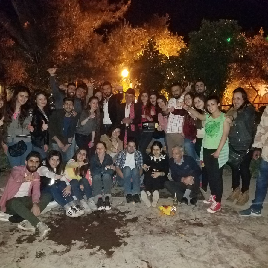 In old Damascus, with youths who spent their night singing in a park. See: https://www.youtube.com/watch?v=ajc8QXbXZoE