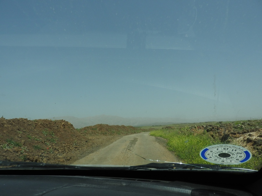 In hired taxi en route to Hadar with Jabal al Sheikh in background