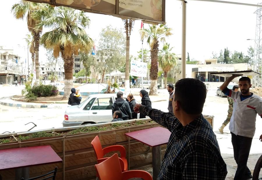Mohammad Shakr at Kafr Batna square where terrorists executed civilians