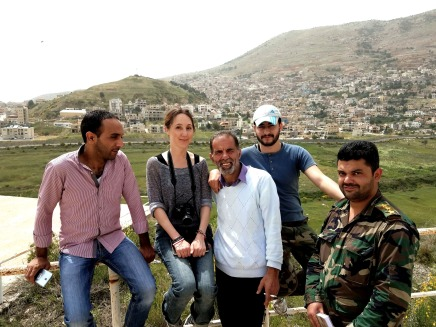 The author with Mahmoud Taweel taxi driver and Syria army protection just near occupied Majdal Shams