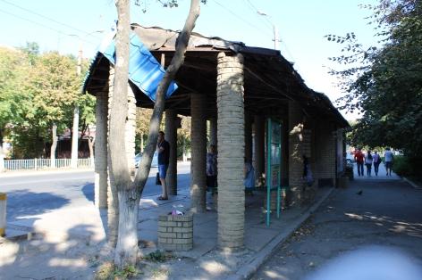 Bus stop in September 2019.