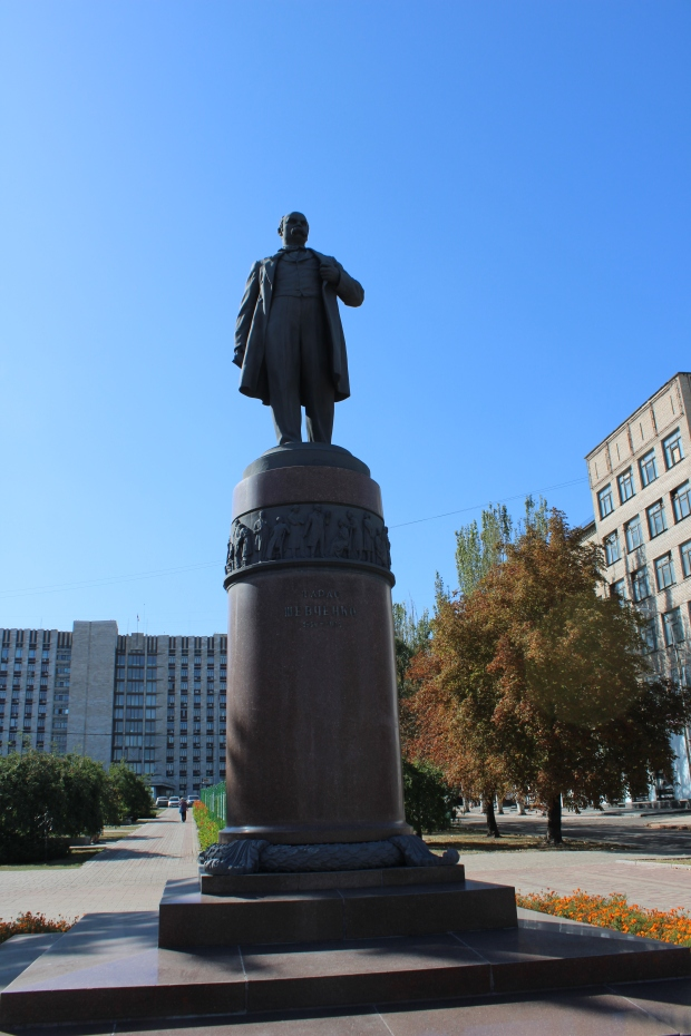 "Donetsk statue of Taras Shevchenko, a famous poetwriter who wrote in Ukrainian. ""In Ukraine, they destroyed statues of the Soviet military leaders who liberated Kiev from German Nazis."""