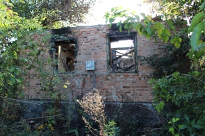 House in Zaitsevo which burned out 2 days prior to my visit, after Ukrainian attack