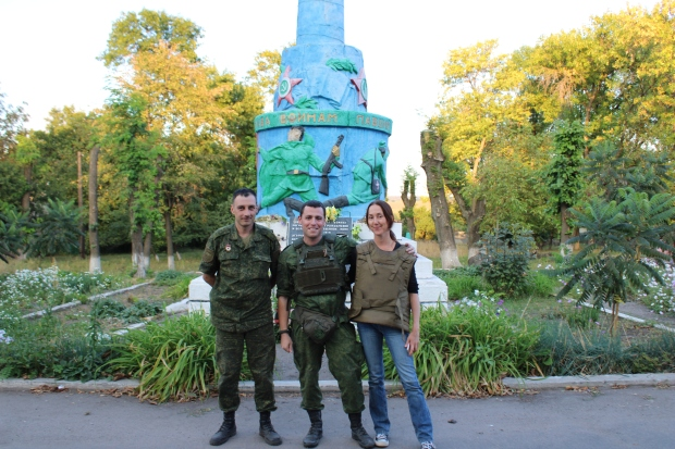 In Zaitsevo main square, with Dmitry, the press officer, and Gyurza, an officer in the DPR Peoples Militia, after visiting front line areas